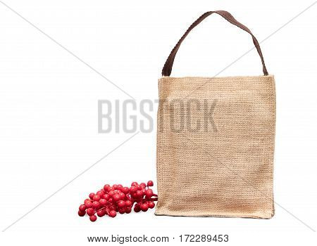 Brown Shopping Sack Bag And Cherry Fruit Isolated On White Background