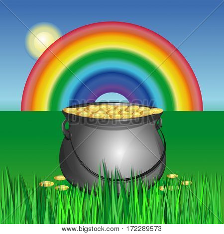 Pot of gold in the grass on the green lawn on the background of the rainbow. Magic pot with leprechaun gold coins. Vector colorful illustration for St. Patrick's Day