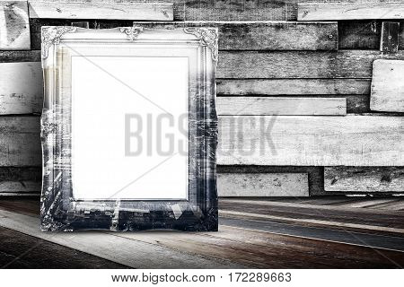 Blank City Overlay Vintage Photo Frame Leaning At Plank Wood Wall And Diagonal Wood Floor,mock Up Fo