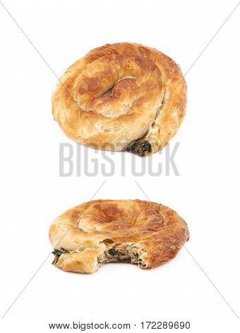 Cheese and spinach pastry bun isolated over the white background, set of two different foreshortenings