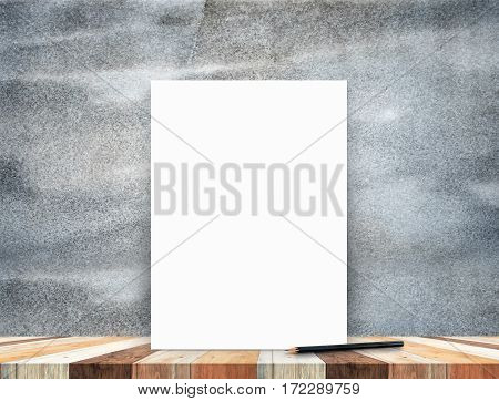 Blank White Poster Leaning At Tropical Wood Table Top With Dark Stone Wall,mock Up Background For Ad