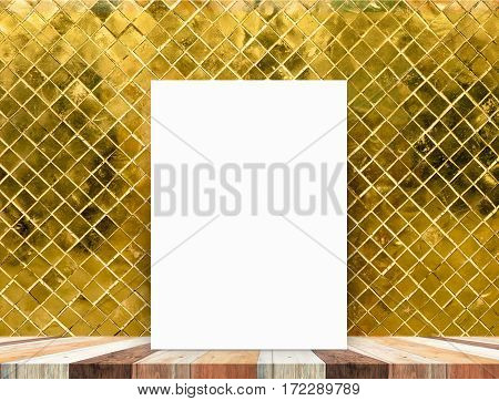 Blank White Poster Leaning At Tropical Wood Table Top With Gold Mosaic Tile Wall,mock Up Background