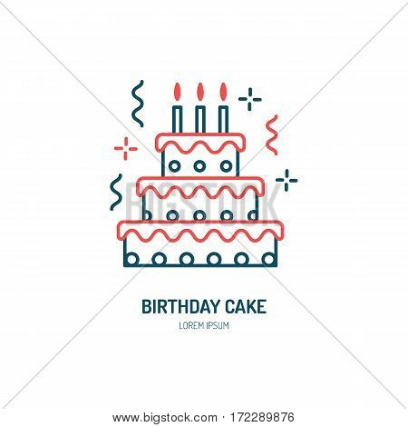 Birthday cake line icon. Vector logo for bakery, party service. Tasty torte thin linear symbol for event agency. Linear illustration of dessert.