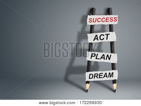 from dream to success concept pencil Ladder