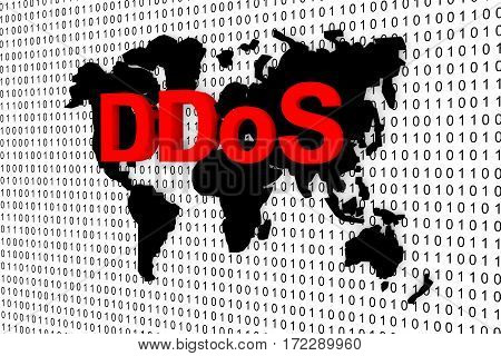 ddos world map binary code 3d illustration