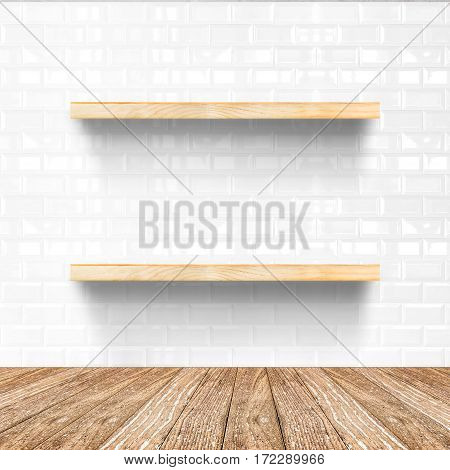 White Tile Room And Wooden Flooring With Wooden Shelf, Mock Up For Display Of Product