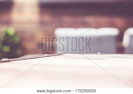 Empty Wood Table And Blurred Cafe Light Background. Product Display Template.business Presentation.