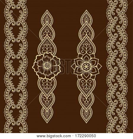 Set of seamless borders for design and application of henna. Bracelet for tattoo or henna pattern. Mehndi style.