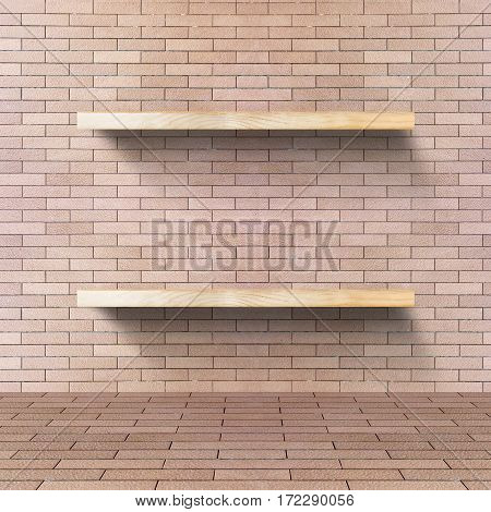 Brick Room With Wooden Shelf, Mock Up For Display Of Product