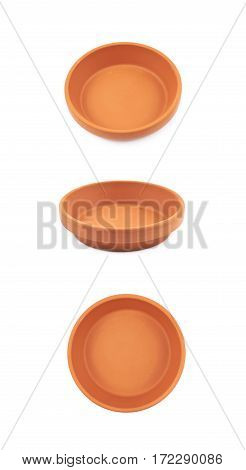 Ceramic tray plate isolated over the white background, set of three different foreshortenings