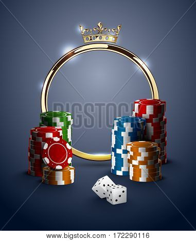 Round casino roulette golden frame with crown stack of poker chips and white dice on deep blue background. Gambling online club vintage poster.