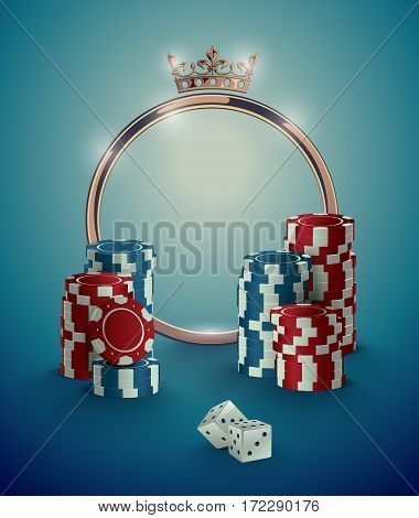 Round casino roulette golden frame with crown stack of poker chips and white dice on deep turquoise background. Gambling online club vintage effect poster design.