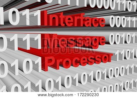 interface message processor in the form of binary code, 3D illustration