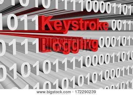 keystroke logging as a binary code 3D illustration