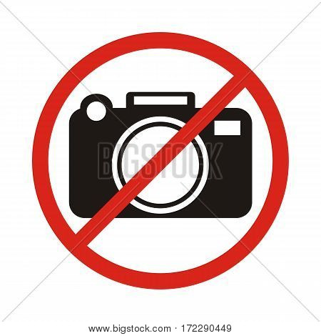No photographing sign icon vector illustration. Flat design style