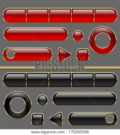 Glossy web button different shape set. Red and black plastic in golden thin frame collection isolated on transparent background.