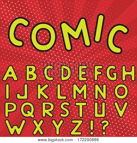 Yellow Comic alphabet on red striped background