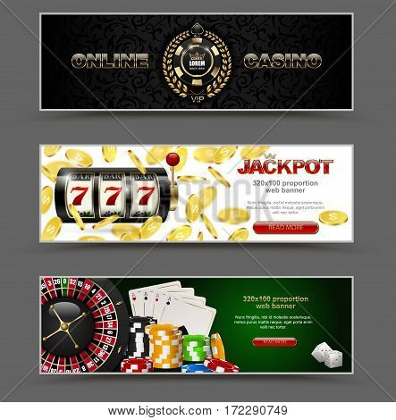 VIP poker luxury horizontal web banner set. Chip stack vector online casino text club golden logo concept. Royal poker card roulette dice. Slot machine falling golden coins jackpot.
