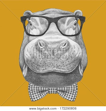 Portrait of Hippo with glasses and bow tie. Hand drawn illustration.