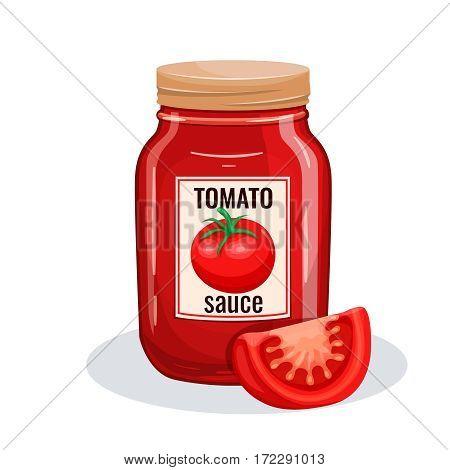 Tomato sauce glass jar. Vector illustration for restaurant menu.