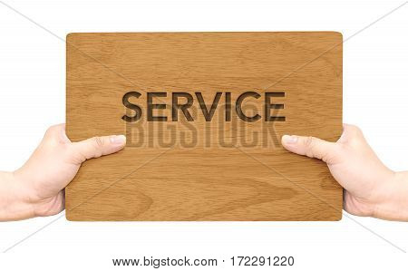 Hand Holding Dark Brown Wood Signboard With Service Word Isolated On White Background,business Conce