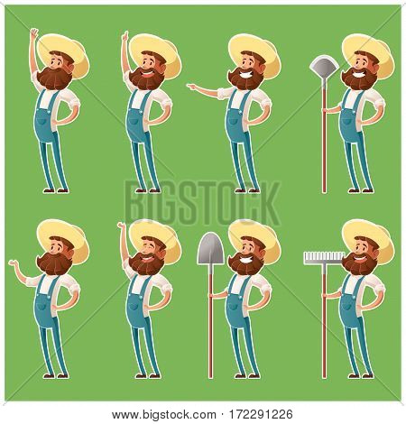 Vector image of the Set of farmer icons