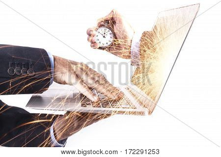 Laptop And Stopwatch
