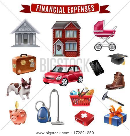 Average family household expenses flat icons collection with housing transportation food clothing and education isolated vector illustration