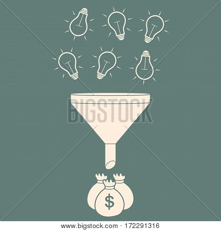 Business Conversion Flat Style Concept. Vector Illustration of Data Funnel and Creative Process.