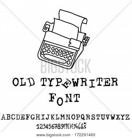 Vector old typewriter font. Vintage grunge font. Vector illustration.