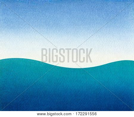 Watercolor background: blue sky and a sea waves. Watercolor gradient. Texture watercolor