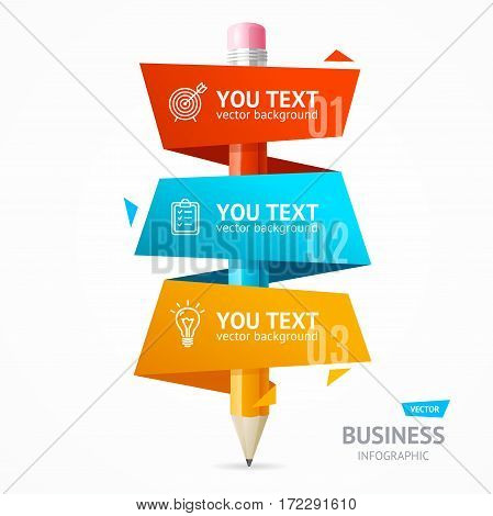Business Infographic Pencil Banner Card Modern Layout for Your Presentation or Promotion. Vector illustration