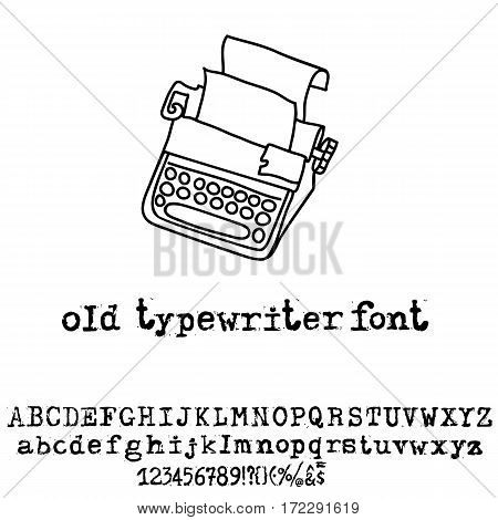 Vector old typewriter font. Vintage grunge font. Vector illustration.