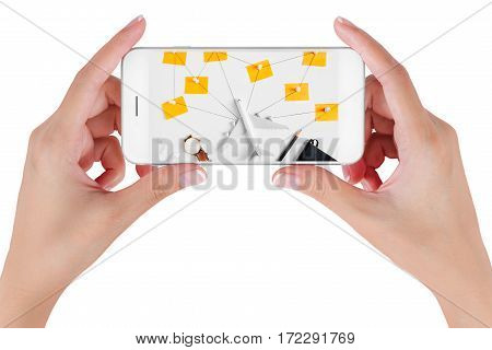 Woman hand using smart phone searching Preparation traveling network with push pin pencil watch ear phone string paper noted. Travel concepts Isolated on white background.