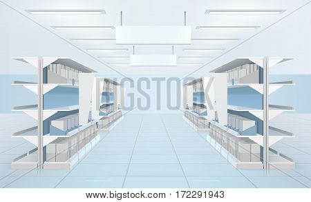 Supermarket interior with perspective view of supermarket shelves with carton boxes and blank tabloids for product sections vector illustration