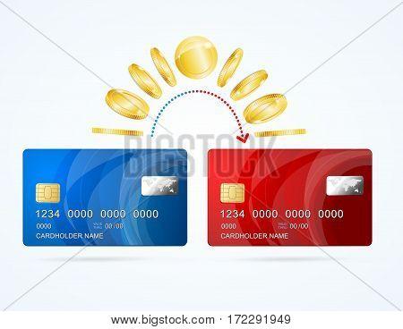 Credit Plastic Card to Card Money Transfer Concept Design Web Element for Business. Vector illustration