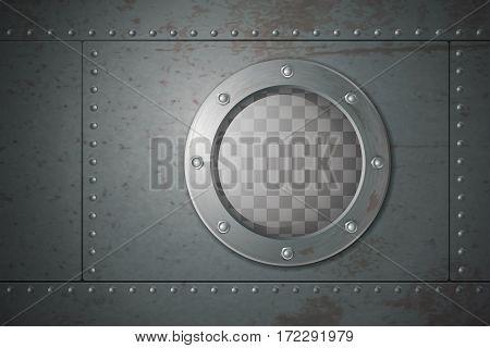 Submarine metal side porthole for underwater travel cartoon vector illustration