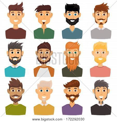 Character of various expressions bearded man face avatar and fashion hipster hairstyle head person with mustache vector illustration. Style design gentleman adult smile expression.