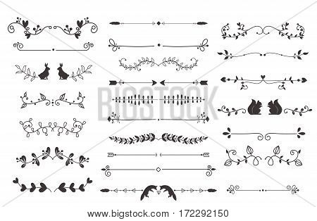 Collection of vector dividers calligraphic style. Vintage border frame design decorative illustration element. Set page decoration retro ornament calligraphy abstract shape.