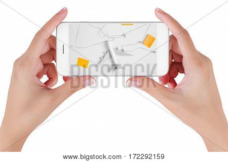 Woman hand using smart phone searching Preparation traveling network with push pin string paper noted . Travel concepts Isolated on white background.