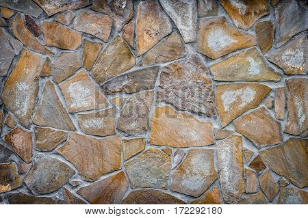 background texture of a wall of decorative red-brown stone