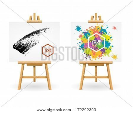 Wooden Easel or Painter Desk Set with for Drop Blot and Abstract Black Background Web Design. Vector illustration