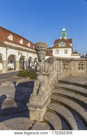 Famous Art Nouveau Statue At Sprudelhof In Bad Nauheim