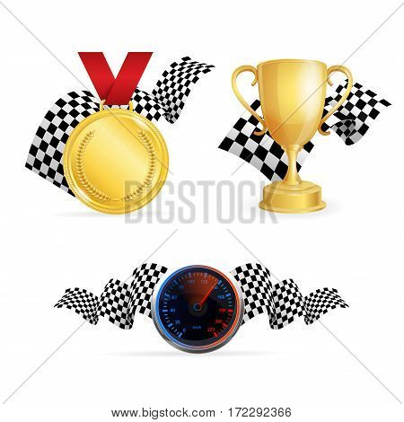 Racing Color Icon Set Medal, Golden Cup, Speedometer and Checkered Flags for Web Vector illustration