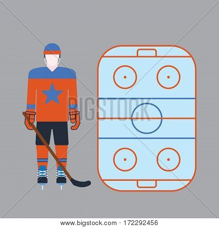 Hockey player man isolated vector illustration. Game sport and cartoon character athlete. Male equipment attribution clothes. Championship forward professional leisure skating.