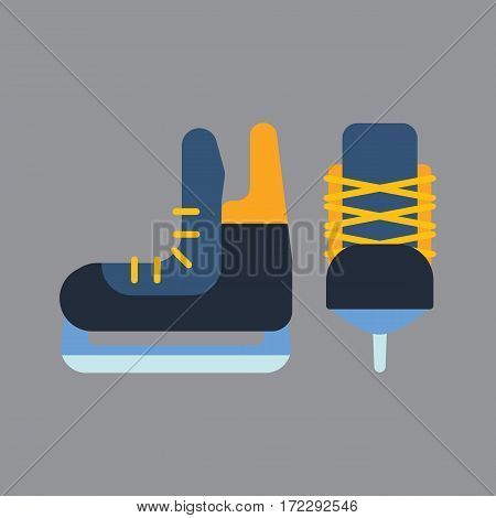 Hockey skates ice boots pair. Vector uniform and accessory in flat style. Isolated equipment athlete attribution clothes. Championship forward professional leisure athlete skating.