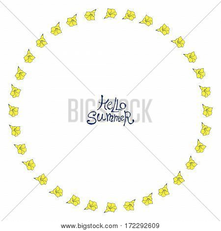 Floral frame with yellow exotic flowers. Nature circle hand drawn border on white background. Vector decoration. Good for greeting cards and invitations.
