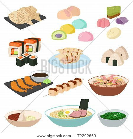 Japanese food sushi asian rice with fish traditional meal icon set and healthy seafood roll salmon cuisine gourmet delicious vector illustration. Restaurant sauce plate culture diet oriental seaweed.
