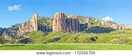 Panorama of Mallos De Riglos rocks in Huesca province Aragon Spain