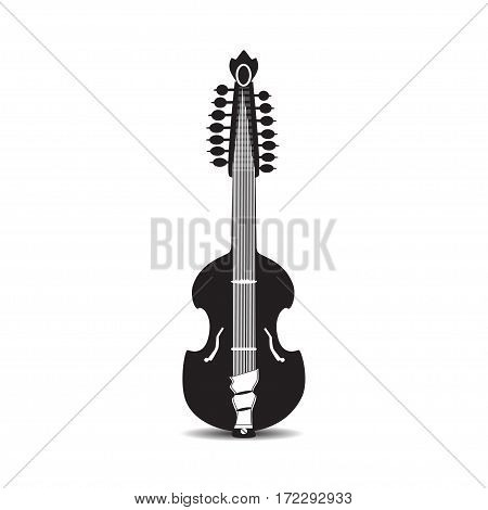 Vector illustration of viola guitar isolated on white background. Black and white flat style musical instrument. Bluegrass and country music.